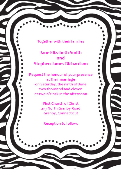 Zebra print free invitation template wedding invitation for Leopard print invitations templates
