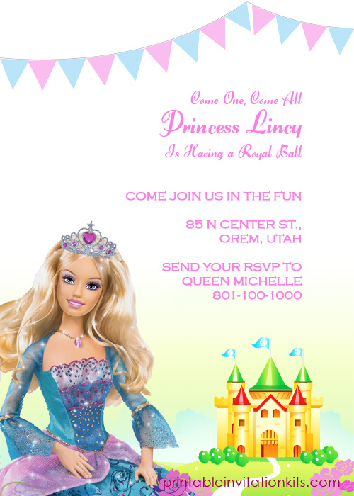 Barbie Birthday Invitations Templates Free Koran Sticken Co