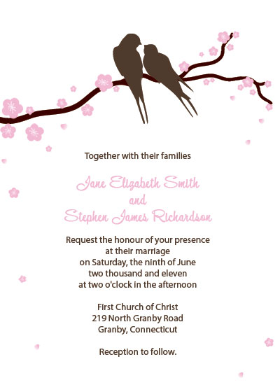 Free Wedding Invitation template with Lovebirds and Cherry Blossoms design
