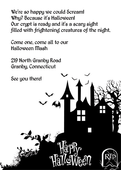 Free halloween haunted house invitation