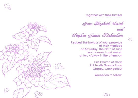 hydrangea free wedding invitation
