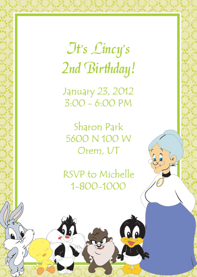 Looney Tunes Free Birthday Invitation Wedding Invitation