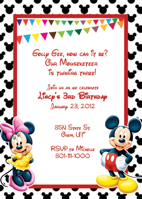To purchase the Mickey and Minnie Mouse party invitation, please visit
