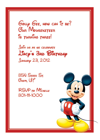 Mickey Mouse Free Invitation ← Printable Invitation Kits