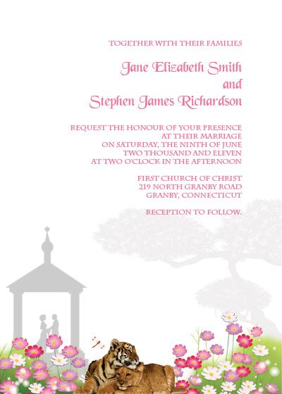 Tigers and Gazebo Garden Wedding Invitation