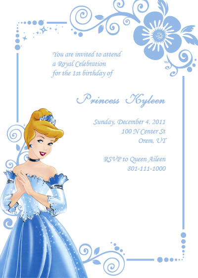 Free Cinderella Birthday Party Invitation