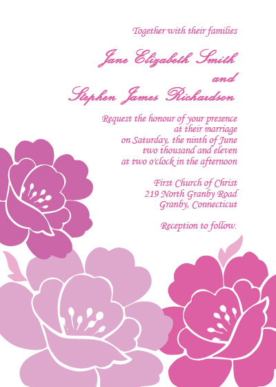 Free Wedding Invitation Samples on Peonies Free Wedding Invitation   Printable Invitation Kits