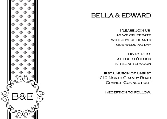 Fleur De Lis Printable Wedding Invitation
