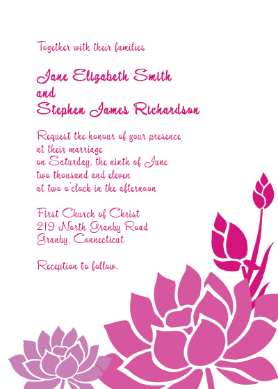 Lotus Flower free wedding invitation