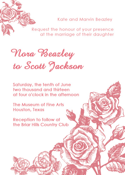 Shabby Chic Roses Vintage Invitation Wedding Invitation Templates
