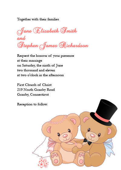 Teddy Bears wedding invitation template