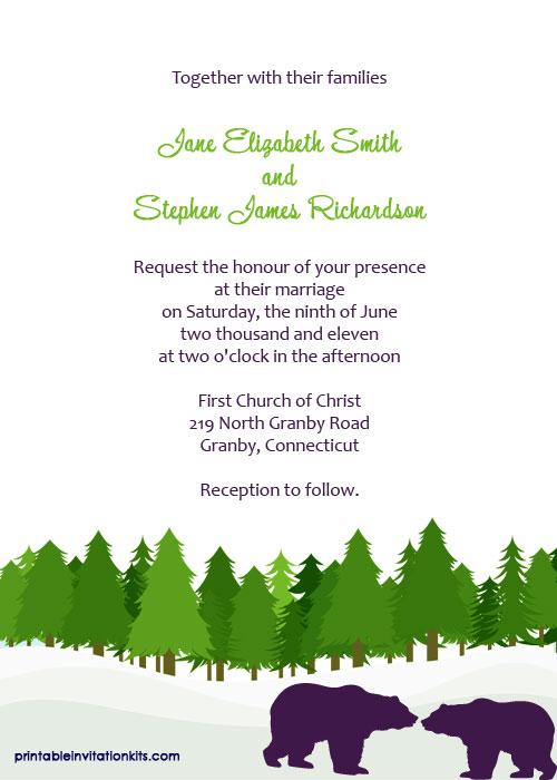 Alaska themed wedding invitation template