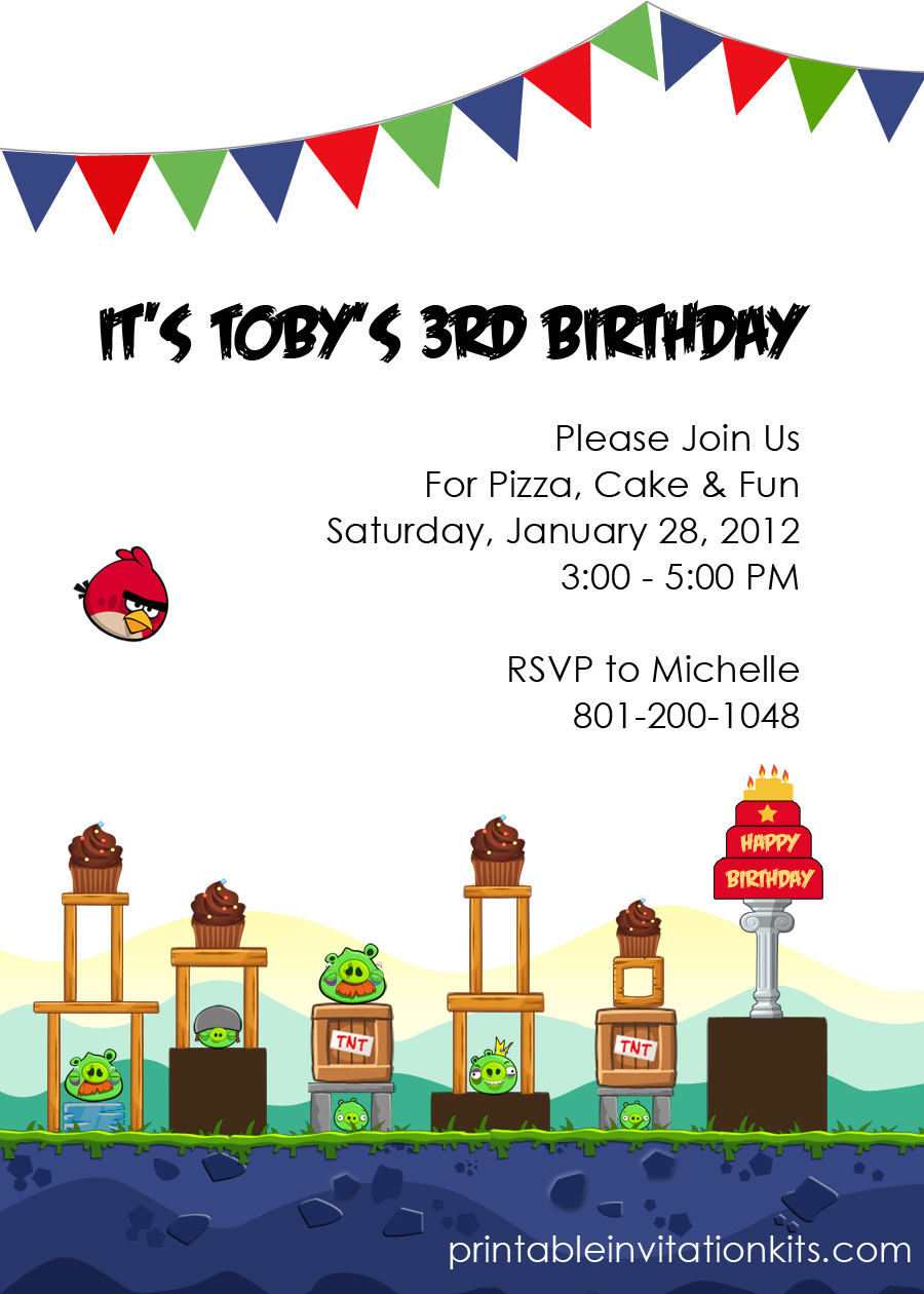 Free Printable Angry Birds Invitation Template. Angry Birds Birthday  Invitation  Free Birthday Invitations Templates For Kids