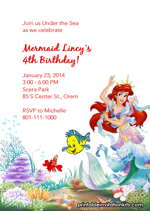 Free printable birthday invitation of Little Mermaid and Friends