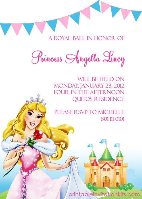 free Disney Sleeping Beauty birthday invitation template