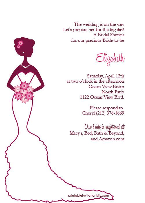 Elegant bride bridal shower invitation wedding invitation free bridal shower printable invitation filmwisefo