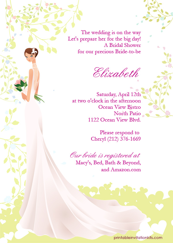 Bridal Shower Invitation Template Bride Silhouette Design  LONG