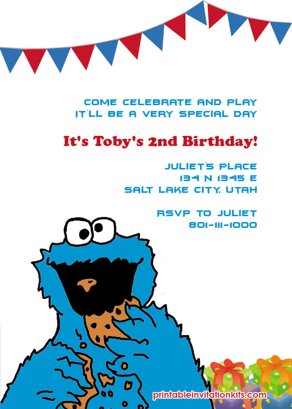 Cookie Monster free birthday Invitation