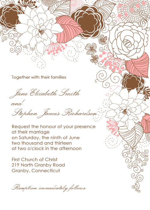 Garden Wedding Invitation with Floral Border Design