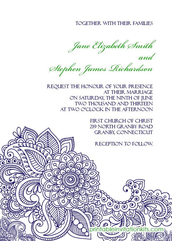 Paisley Print free wedding Invitation