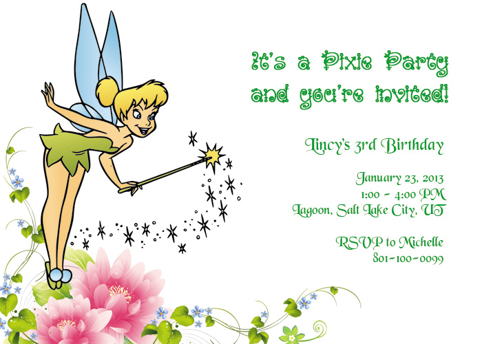Tinkerbell Printable Birthday Invitation Wedding Invitation – Printable 16th Birthday Invitations