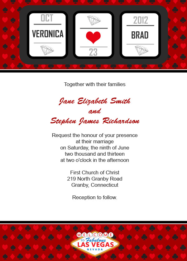 Slot Machine Vegas Casino Free Wedding Invitation Template
