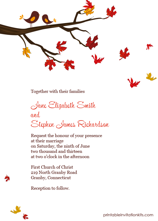 Fall wedding invitation template with fall leaves and love birds on tree