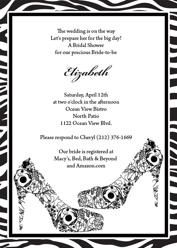Bachelorette or bridal shower invitation template with fabulous shoe and zebra print design