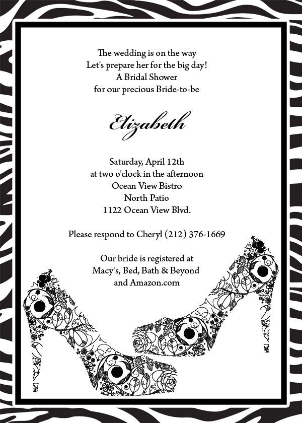 black shoes and zebra print invitation