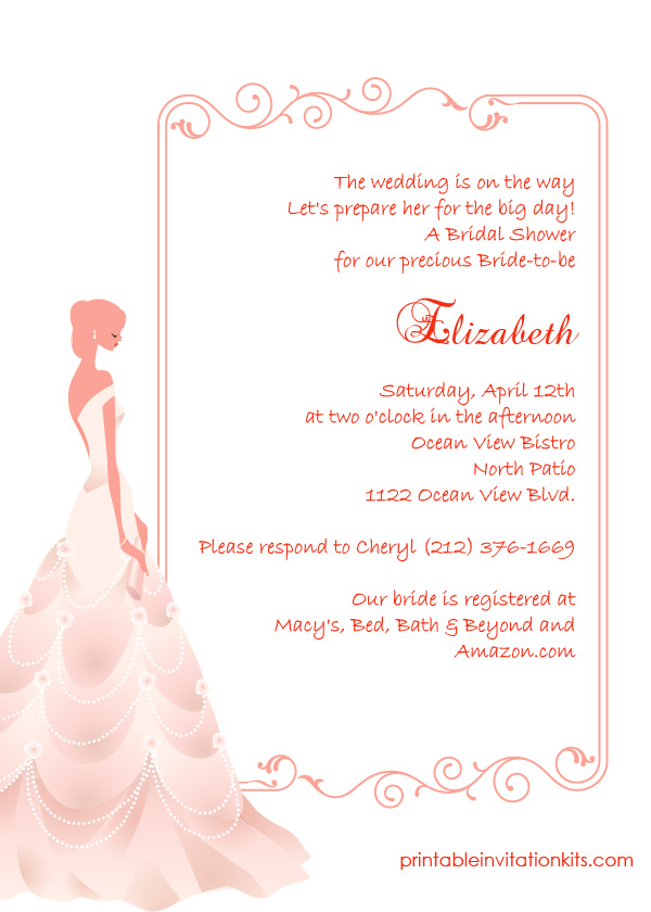 Bridal shower invitation with bride and elegant frame design