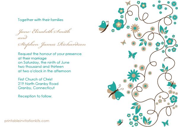 Erfly Garden Wedding Invitation Template