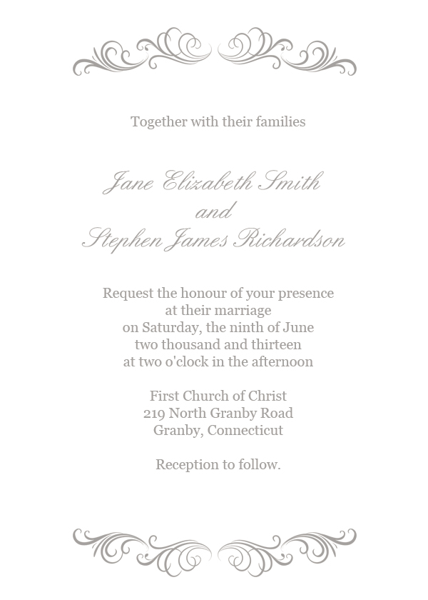 Wedding Invitation Flourish - simple wedding invitation