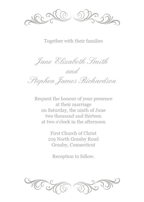 Flourishes Invitation In Silver Wedding Invitation Templates