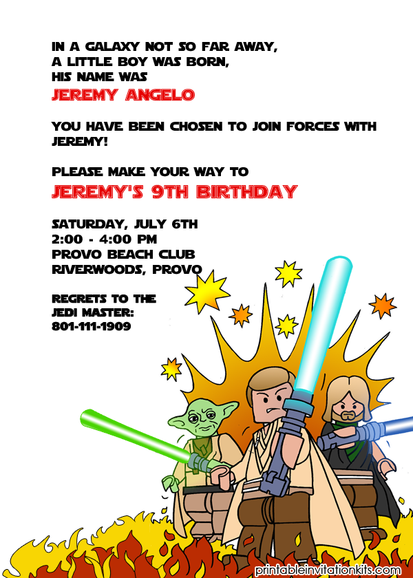 picture regarding Star Wars Birthday Invitations Printable identified as Lego Starwars Birthday Invitation ← Wedding day Invitation