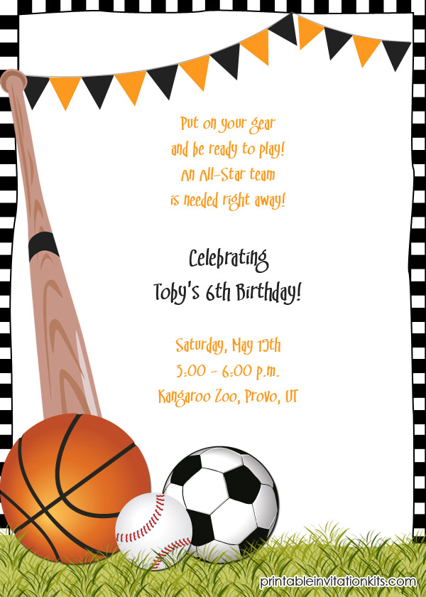 Sport themed event birthday invitation template