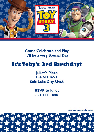 Toy Story 3 Free birthday invitation card