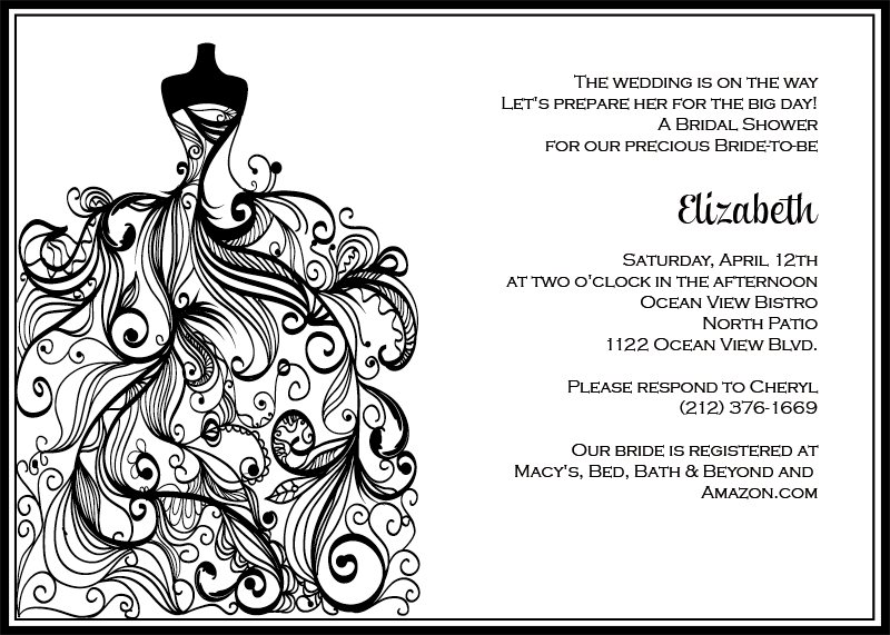 Bridal Shower invitation in classic black and white for bridal shower