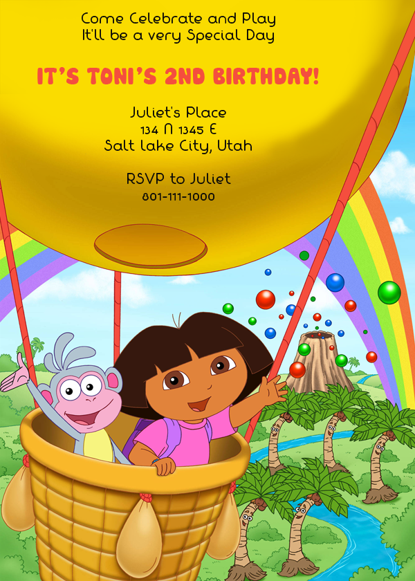 Dora the Explorer free birthday invitation.