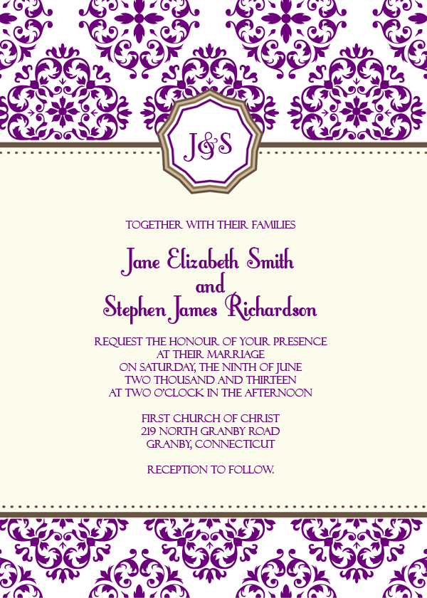 Free Wedding invitation template with European pattern monogram