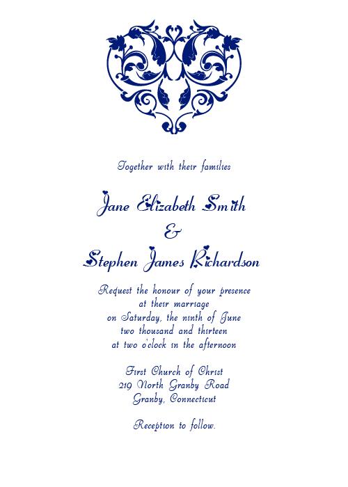Heart filigree wedding invitation template