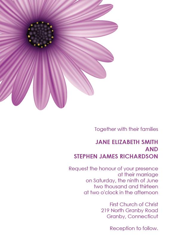 Daisy free wedding invitation template