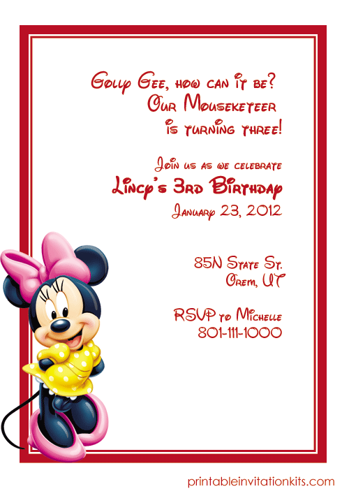 image relating to Minnie Mouse Birthday Cards Printable titled Minnie Mouse Birthday Invitation ← Wedding day Invitation