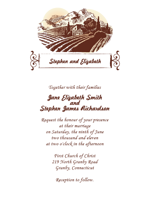 Sonoma or Country Themed Rustic Wedding Invitation Template