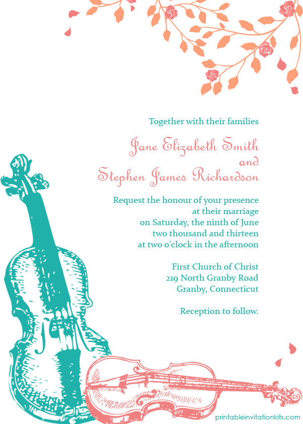 Violins Wedding Invitation Template