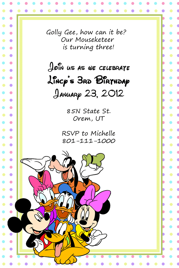 Free Mickey Mouse and friends birthday invitation printable template.