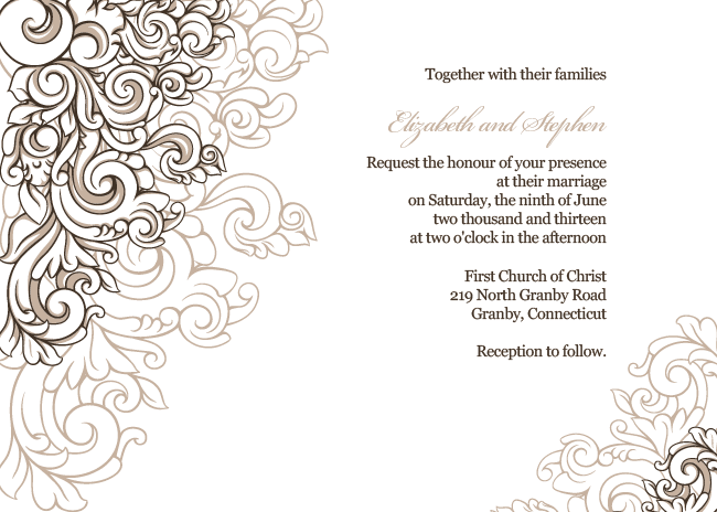 Wedding invitation template with scrolling borders design