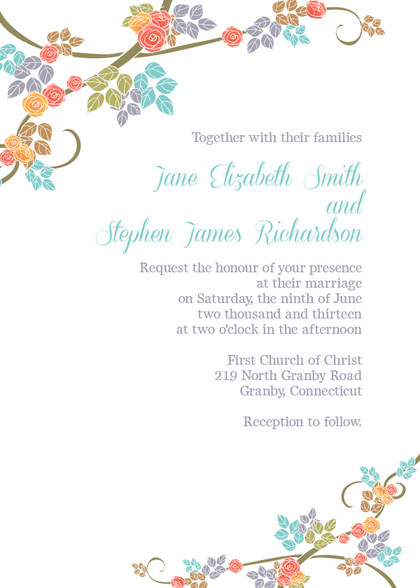 Flower spring wedding invitation