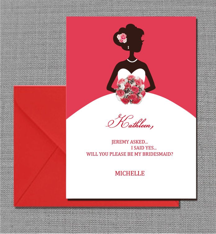 Will You Be My Bridesmaid Card Wedding Invitation