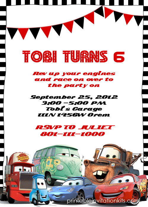 Lightning McQueen Cars Birthday Invitation