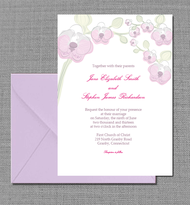 Elegant Orchids wedding card.